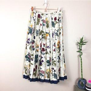 Vintage Floral pleated botanical midi skirt
